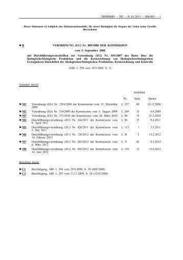 B VERORDNUNG (EG) Nr. 889/2008 DER KOMMISSION vom 5 ...