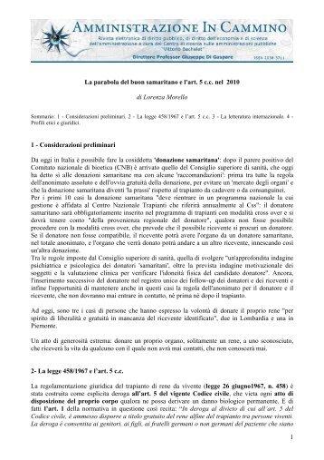 1 La parabola del buon samaritano e l'art. 5 c.c. nel 2010 di Lorenza ...