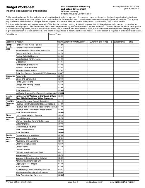 Budget Worksheet Income And Expense Projections Hud