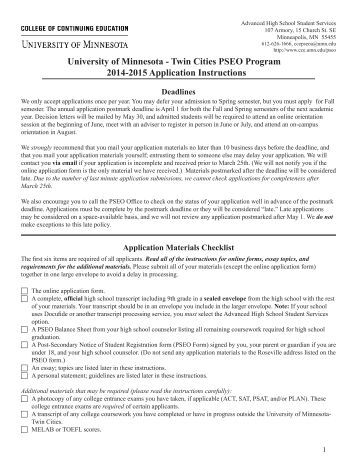 university of minnesota pseo essay In addition to classroom-based offerings, pseo provides high school juniors and seniors anywhere in the state the opportunity to take courses online at the university of minnesota find out more about pseo online offerings from the crookston, duluth , morris , and twin cities campuses.