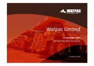 Half-Year Results Presentation - Watpac