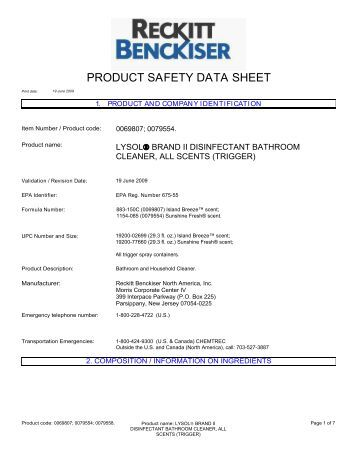 Safety Data Sheet For Lysol Toilet Bowl Cleaner Diydry Co