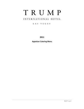 Appetizer Catering Menu - Trump Hotel Collection