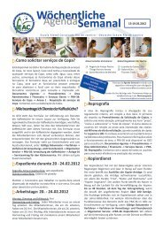 Wöchentliche Semanal - Escola Alemã Corcovado