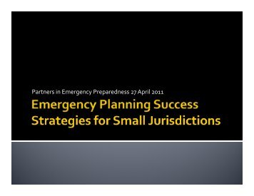 Emergency Planning Techniques for Small Jurisdictions - WSU ...