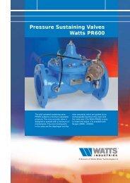 Pressure Sustaining Valves Watts PR600 - Watts Industries