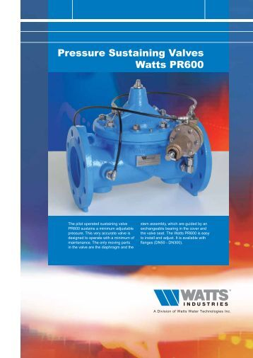 Pressure Sustaining Valves Watts PR600 - Watts Industries