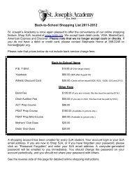 Back-to-School Shopping List 2011-2012 - St. Joseph's Academy