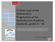 Standards with Progressions grades K-HS v. 1.3 - Kentucky ...