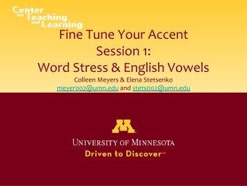 Word Stress & English Vowels - TESOL Community