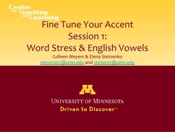 Word Stress & English Vowels - TESOL Community