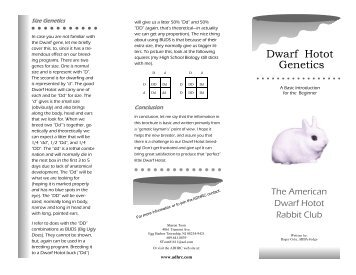 2006 Genetics Brochure - the American Dwarf Hotot Rabbit Club
