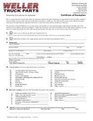 West Virginia Tax Exemption Form - weller truck parts