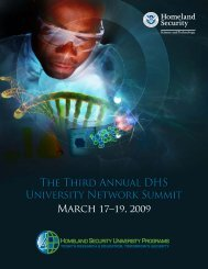 The Third Annual DHS University Network Summit March 17–19, 2009