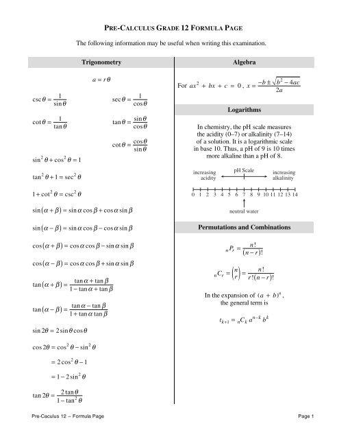 Pre-Calc 12 Formula Sheet
