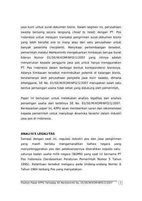 position paper komisi pengawas persaingan usaha ... - KPPU