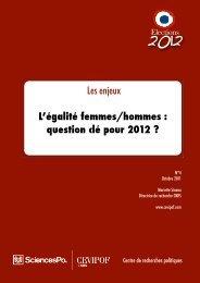L'égalité femmes/hommes : question clé pour 2012 - cevipof