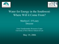 Water for Energy in the Southwest: Where Will it Come From? - Utton ...