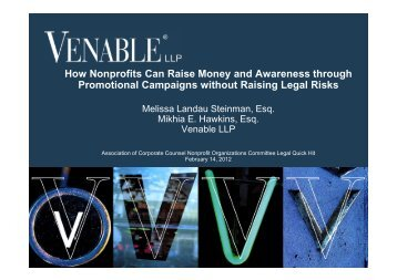 How Nonprofits Can Raise Money and Awareness ... - Venable LLP
