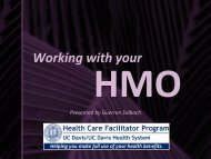 Working with your HMO - UC Davis