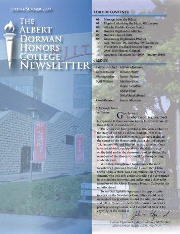 Honors Newsletter Spring09.indd - Albert Dorman Honors College