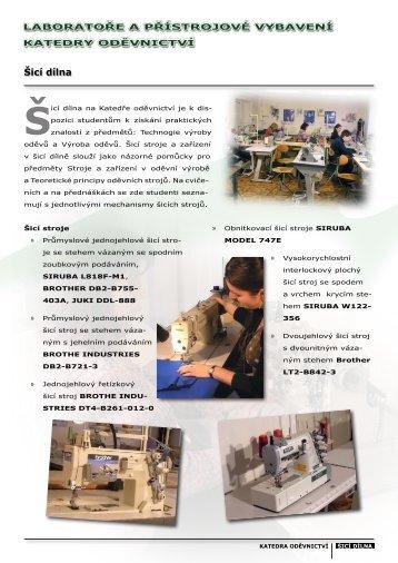 Šicí dílna - Katedra oděvnictví - Technická univerzita v Liberci