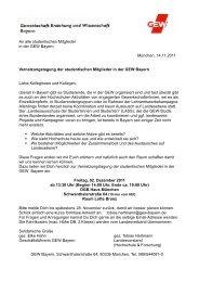 An alle studentischen Mitglieder in der GEW Bayern München ...