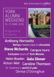 YORK ALUMNI WEEKEND - University of York