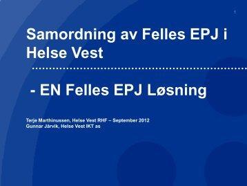 Samordning Felles EPJ i Helse Vest