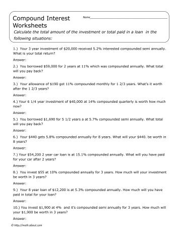 Algebra Finance Simple and Compound Interest Review Worksheet Quiz