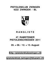 Rangliste 2011 - Pistolenklub Zwingen