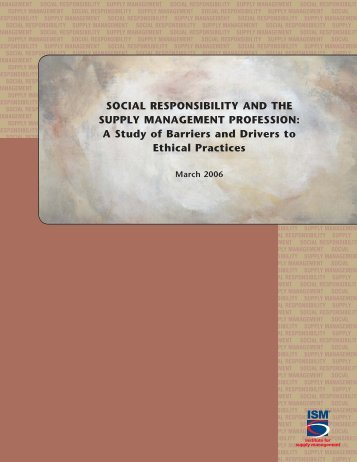 SOCIAL RESPONSIBILITY AND THE SUPPLY MANAGEMENT ...