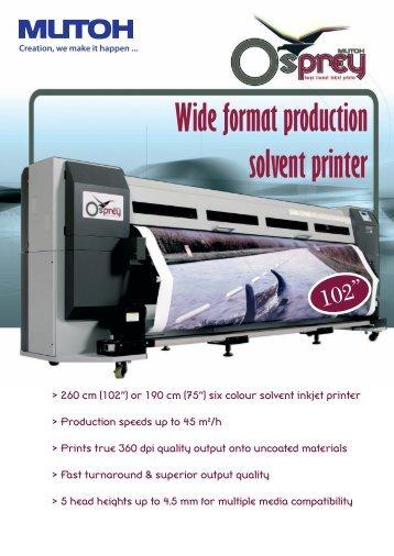 Wide format production solvent printer - Mutoh Belgium nv.