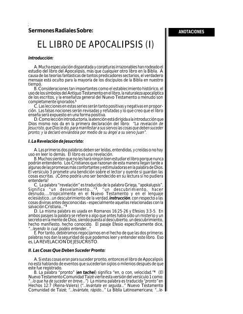 sermones radiales sobre el libro de apocalipsis - Compra la