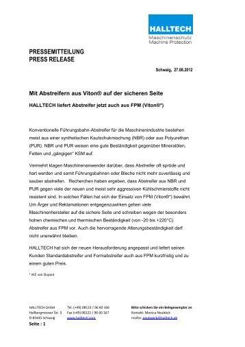 PRESSEMITTEILUNG PRESS RELEASE - Halltech
