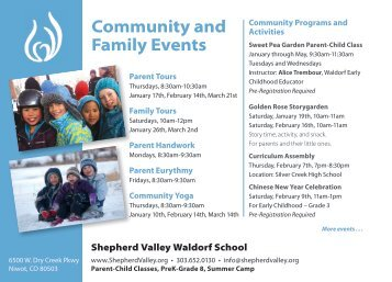 Community and Family Events - Shepherd Valley Waldorf School