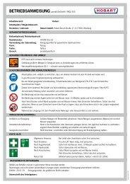 BetrieBsanweisung gemäß GefStoffV / TRGS 555 ... - HOBART GmbH