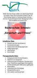"Rückenschule Intensiv: ""Körperkult und Fitness"" - HOY-REHA GmbH"