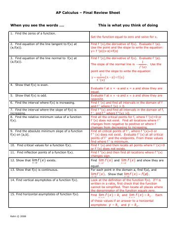 ap calculus final review sheet when you see the words this rh yumpu com On AP Calculus Movie AP Calculus AB Test Prep