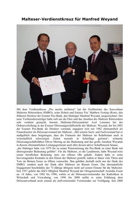 Malteser-Verdienstkreuz für Manfred Weyand - Kkv-essen.de