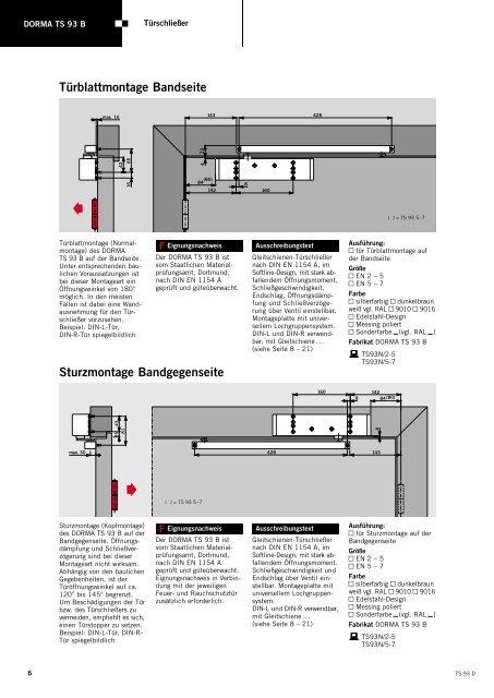 Produktinformation DORMA TS93 - Herling Baubeschlag GmbH