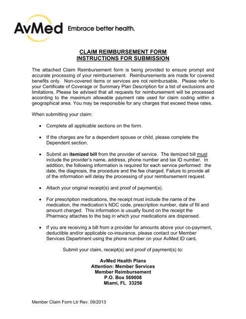 Member Claim Form Avmed Health Plans