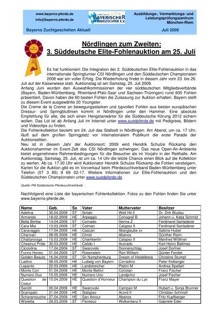 Nördlingen zum Zweiten: 3. Süddeutsche Elite-Fohlenauktion am 25 ...