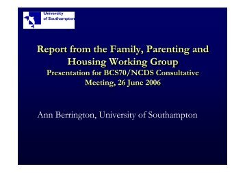 Report from the Family, Parenting and Housing Working Group ...