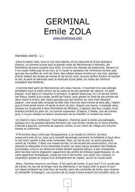 Germinal Emile Zola Livrefrance Com