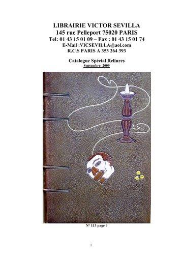 catalogue reliures - Livre Rare Book