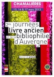 Dossier de Presse - Livre Rare Book