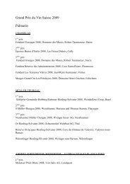 11/2009 > Palmarès 2009 (pdf) - Grand Prix du Vin Suisse 2013
