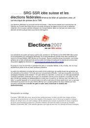 SRG-SSR et les élections fédérales - Radio Télévision Suisse ...