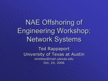 NAE Offshoring of Engineering Workshop: Network Systems